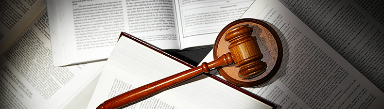 law books with legal gavel