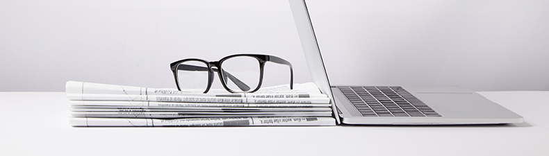 Newspaper, Glasses, Laptop
